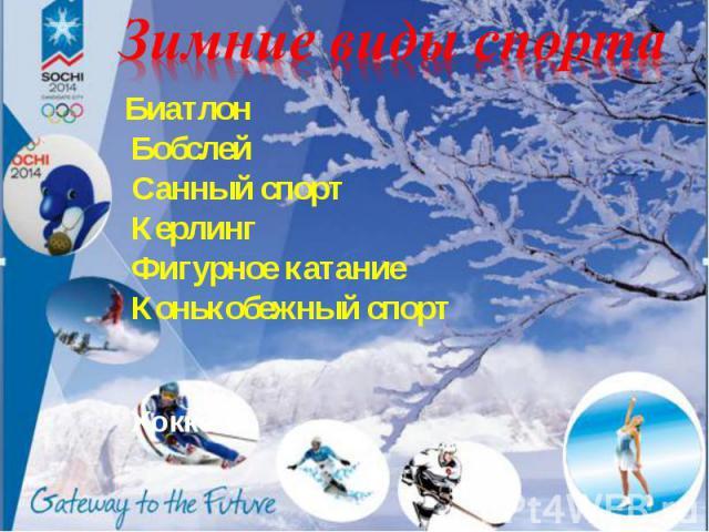 Биатлон БиатлонБобслейСанный спортКерлингФигурное катаниеКонькобежный спортХоккей