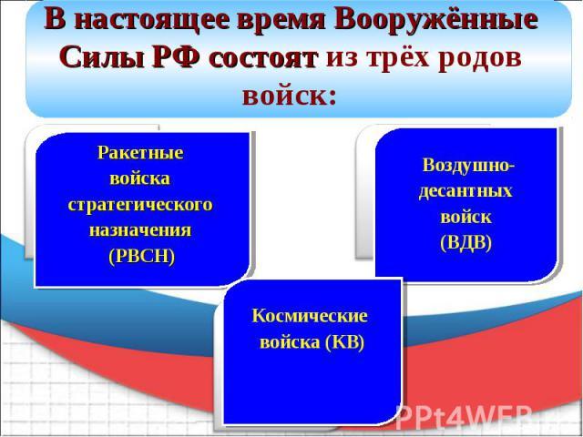 В настоящее время Вооружённые Силы РФ состоят из трёх родов войск: Ракетные войска стратегического назначения (РВСН) Космические войска (КВ) Воздушно- десантных войск (ВДВ)
