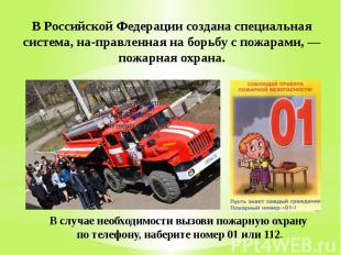 В Российской Федерации создана специальная система, на правленная на борьбу с по