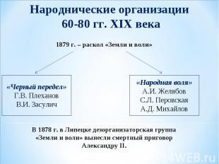 Народнические организации 60-80 гг. XIX века В 1878 г. в Липецке дезорганизаторс