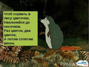 Чтоб сорвать в лесу цветочки, Наклоняйся до носочков. Раз цветок, два цветок, А