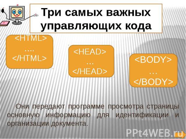 Три самых важных управляющих кода Они передают программе просмотра страницы основную информацию для идентификации и организации документа.