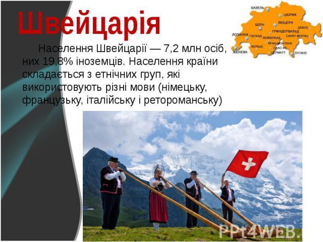 Населення Швейцарії — 7,2 млн осіб, з них 19,8% іноземців. Населення країни складається з етнічних груп, які використовують різні мови (німецьку, французьку, італійську і ретороманську) Населення Швейцарії — 7,2 млн осіб, з них 19,8% іноземців. Насе…