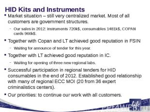 HID Kits and InstrumentsMarket situation – still very centralized market. Most o