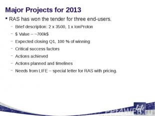 Major Projects for 2013 RAS has won the tender for three end-users.Brief descrip