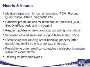 Needs & IssuesMedical registration for certain products: PGM, Proton, QuantS