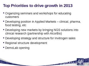 Top Priorities to drive growth in 2013Organizing seminars and workshops for educ