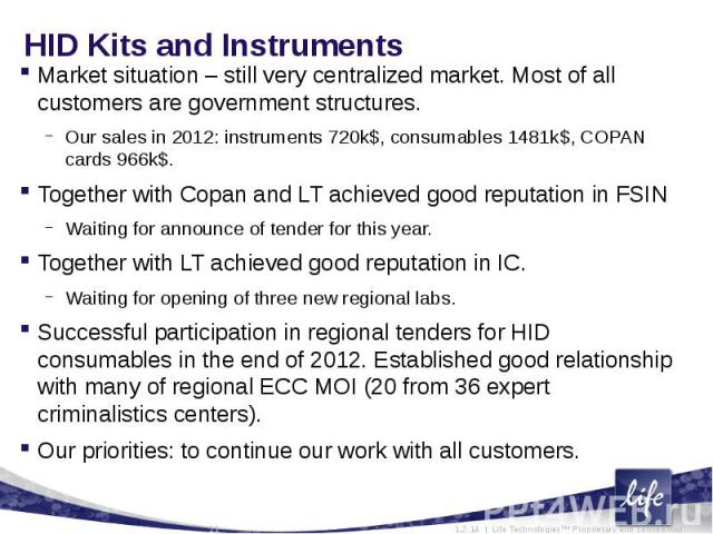 HID Kits and InstrumentsMarket situation – still very centralized market. Most of all customers are government structures.Our sales in 2012: instruments 720k$, consumables 1481k$, COPAN cards 966k$.Together with Copan and LT achieved good reputation…