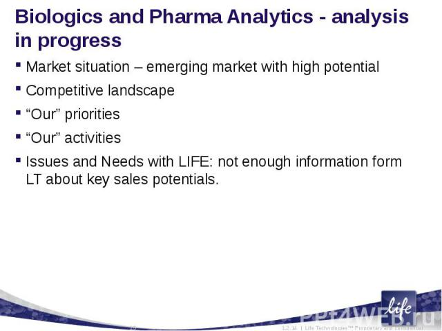 """Biologics and Pharma Analytics - analysis in progressMarket situation – emerging market with high potentialCompetitive landscape """"Our"""" priorities""""Our"""" activitiesIssues and Needs with LIFE: not enough information form LT about key sales potentials."""