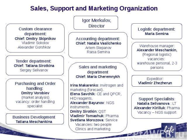 Sales, Support and Marketing Organization