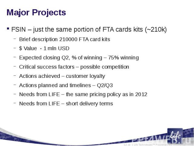 Major ProjectsFSIN – just the same portion of FTA cards kits (~210k)Brief description 210000 FTA card kits$ Value - 1 mln USD Expected closing Q2, % of winning – 75% winningCritical success factors – possible competitionActions achieved – customer l…