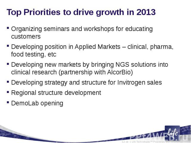 Top Priorities to drive growth in 2013Organizing seminars and workshops for educating customersDeveloping position in Applied Markets – clinical, pharma, food testing, etcDeveloping new markets by bringing NGS solutions into clinical research (partn…