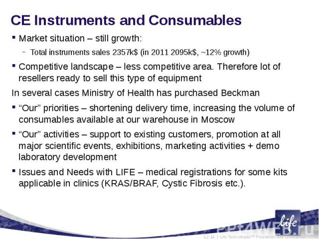 CE Instruments and ConsumablesMarket situation – still growth:Total instruments sales 2357k$ (in 2011 2095k$, ~12% growth)Competitive landscape – less competitive area. Therefore lot of resellers ready to sell this type of equipmentIn several cases …