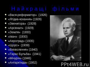 Н а й к р а щ і ф і л ь м и«Вася-реформатор» (1926)«Ягідка-кохання» (1926)«Звени