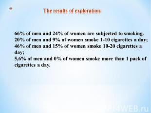 The results of exploration:66% of men and 24% of women are subjected to smoking.
