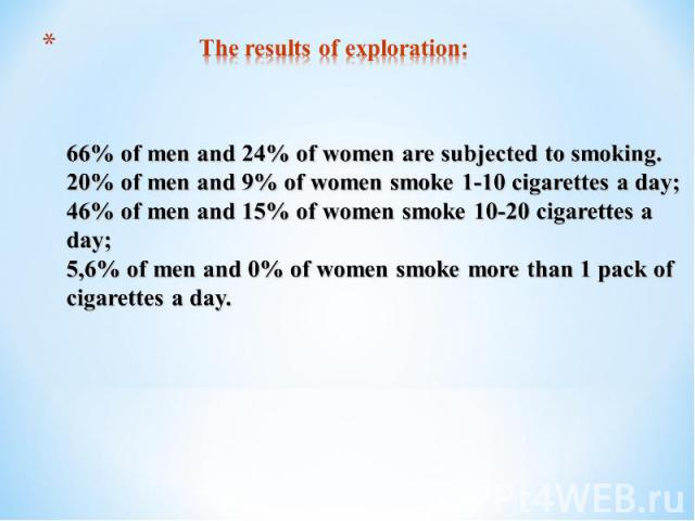 The results of exploration:66% of men and 24% of women are subjected to smoking. 20% of men and 9% of women smoke 1-10 cigarettes a day; 46% of men and 15% of women smoke 10-20 cigarettes a day; 5,6% of men and 0% of women smoke more than 1 pack of …