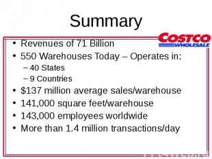 Revenues of 71 Billion Revenues of 71 Billion 550 Warehouses Today – Operates in