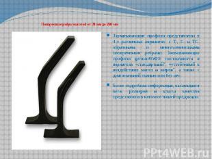 Поперечные ребра высотой от 20 мм до 280 мм Захватывающие профили представлены в