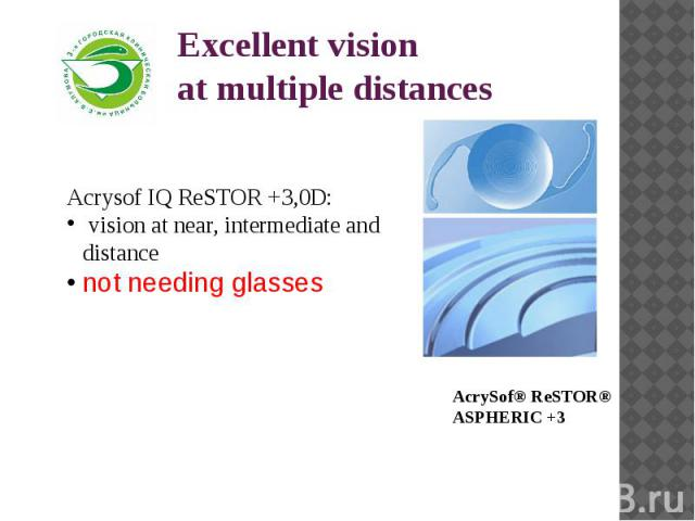 Excellent vision at multiple distances