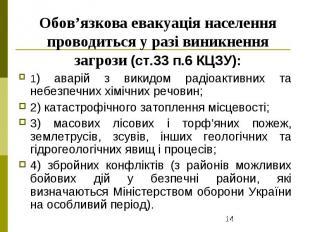 Обов'язкова евакуація населення проводиться у разі виникнення загрози (ст.33 п.6