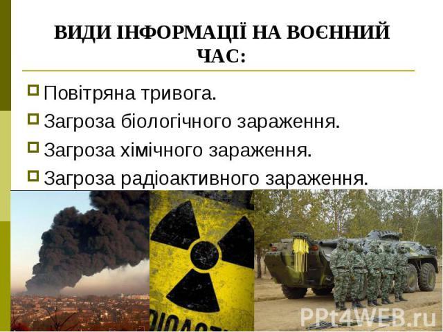 ВИДИ ІНФОРМАЦІЇ НА ВОЄННИЙ ЧАС: Повітряна тривога. Загроза біологічного зараження. Загроза хімічного зараження. Загроза радіоактивного зараження.