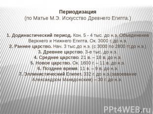Периодизация (по Матье М.Э. Искусство Древнего Египта.) 1.Додинастический