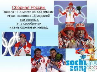Сборная России заняла 11-е место на ХXI зимних играх, завоевав 15 медалей три зо