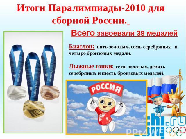 Итоги Паралимпиады-2010 для сборной России. Всего завоевали 38 медалей Биатлон: пять золотых, семь серебряных и четыре бронзовых медали.Лыжные гонки: семь золотых, девять серебряных и шесть бронзовых медалей.