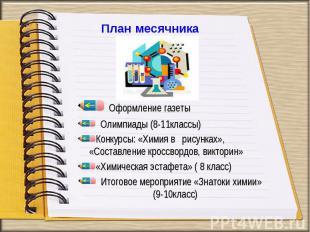 Оформление газеты Олимпиады (8-11классы) Конкурсы: «Химия в рисунках», «Составле