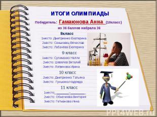 Победитель: Гамаюнова Анна (10класс) из 36 баллов набрала 36 8класс 1место: Дмит