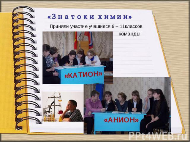 Приняли участие учащиеся 9 – 11 классов команды: