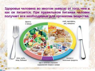 Здоровье человека во многом зависит от того, чем и как он питается. При правильн