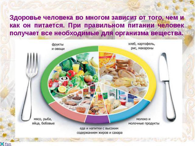 Здоровье человека во многом зависит от того, чем и как он питается. При правильном питании человек получает все необходимые для организма вещества.