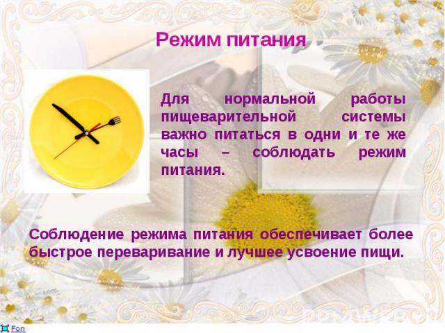 Для нормальной работы пищеварительной системы важно питаться в одни и те же часы – соблюдать режим питания.
