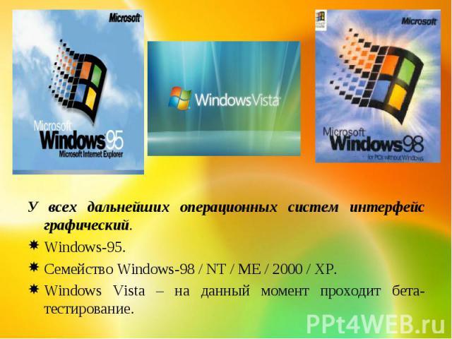 У всех дальнейших операционных систем интерфейс графический.Windows-95.Семейство Windows-98 / NT / ME / 2000 / XP.Windows Vista – на данный момент проходит бета-тестирование.
