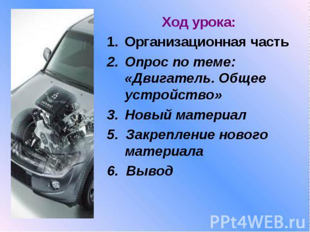 Ход урока:Организационная часть Опрос по теме: «Двигатель. Общее устройство» Новый материал5. Закрепление нового материала6. Вывод