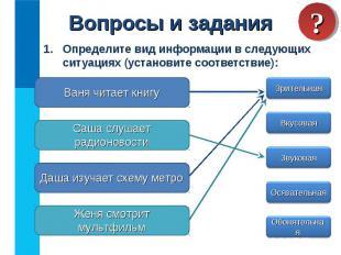 Определите вид информации в следующих ситуациях (установите соответствие): Опред