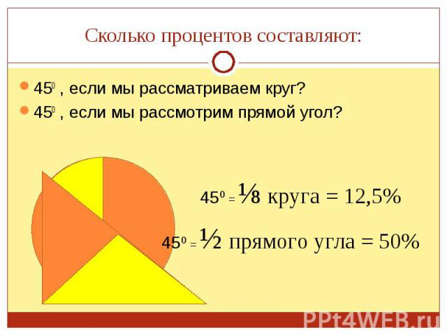 450 , если мы рассматриваем круг? 450 , если мы рассматриваем круг? 450 , если мы рассмотрим прямой угол?