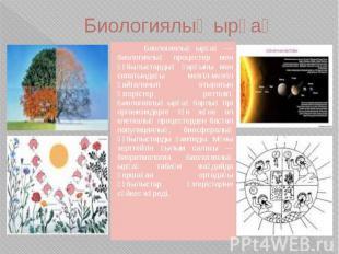 Биологиялық ырғақ Биологиялық ырғақ -— биологиялық процестер мен құбылыстардың қ
