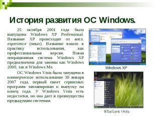 История развития ОС Windows. 25 октября 2001 года была выпущена Windows XP Profe