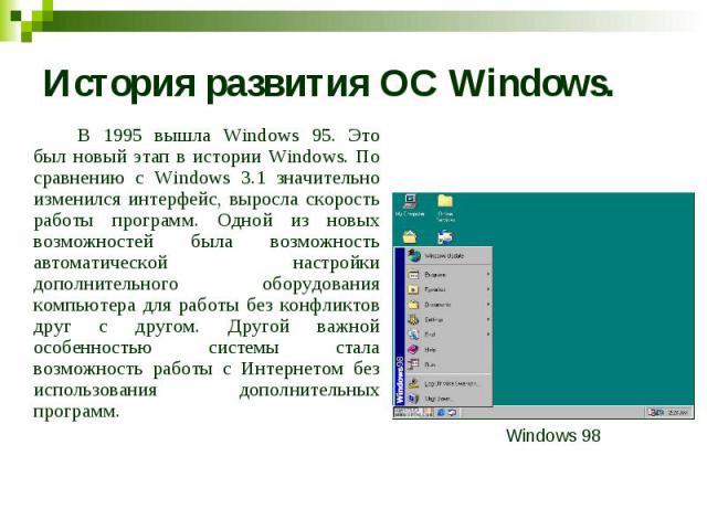 История развития ОС Windows. В 1995 вышла Windows 95. Это был новый этап в истории Windows. По сравнению с Windows 3.1 значительно изменился интерфейс, выросла скорость работы программ. Одной из новых возможностей была возможность автоматической нас…