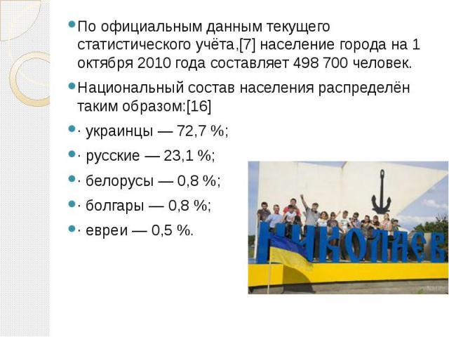 По официальным данным текущего статистического учёта,[7] население города на 1 октября 2010 года составляет 498 700 человек. Национальный состав населения распределён таким образом:[16] · украинцы — 72,7 %; · русские — 23,1 %; · белорусы — 0,8 %; · …