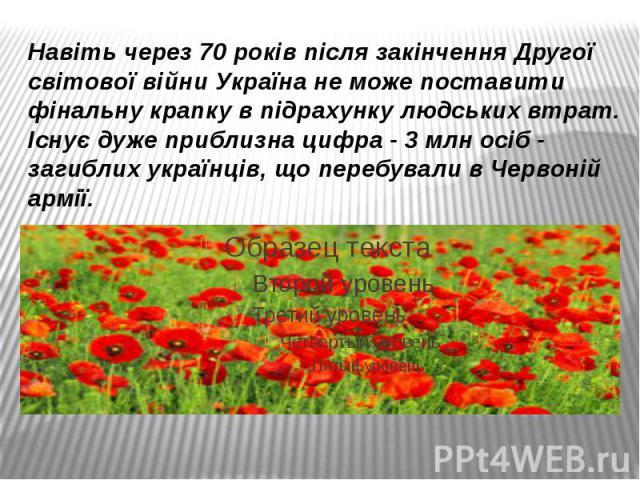 Навіть через 70 років після закінчення Другої світової війни Україна не може поставити фінальну крапку в підрахунку людських втрат. Існує дуже приблизна цифра - 3 млн осіб - загиблих українців, що перебували в Червоній армії.