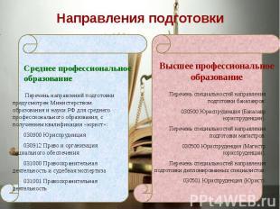 Направления подготовки Среднее профессиональное образование