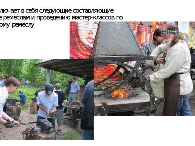 Центр включает в себя следующие составляющие:Обучение ремёслам и проведению мастер-классов по-Кузнечному ремеслу