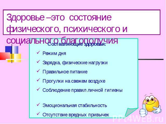 Здоровье –это состояние физического, психического и социального благополучияСоставляющие здоровья:Режим дняЗарядка, физические нагрузкиПравильное питаниеПрогулки на свежем воздухеСоблюдение правил личной гигиены Эмоциональная стабильностьОтсутствие …