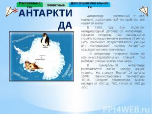АНТАРКТИДА Антарктида – закованный в лёд материк, расположенный на крайнем юге н