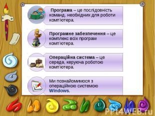 Програма – це послідовність команд, необхідних для роботи комп'ютера.