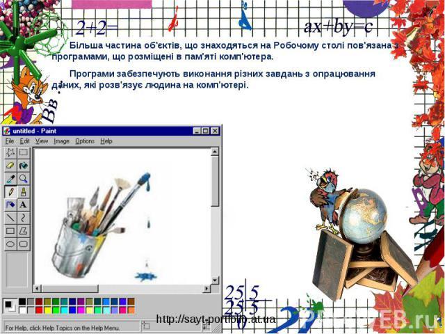 Більша частина об'єктів, що знаходяться на Робочому столі пов'язана з програмами, що розміщені в пам'яті комп'ютера. Програми забезпечують виконання різних завдань з опрацювання даних, які розв'язує людина на комп'ютері.