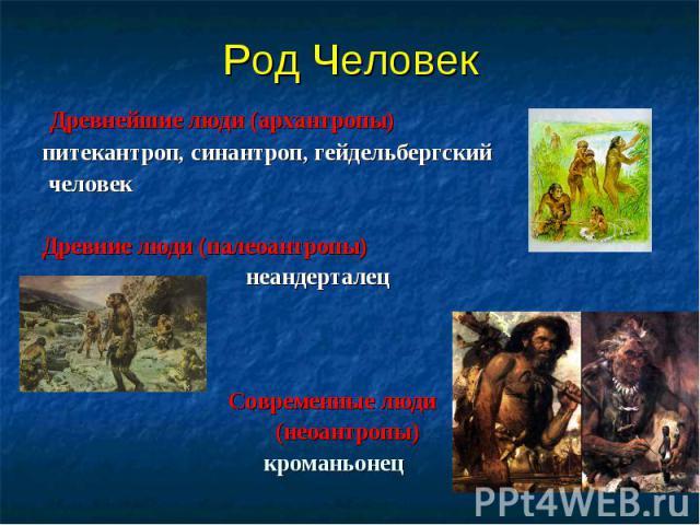Древнейшие люди (архантропы) Древнейшие люди (архантропы) питекантроп, синантроп, гейдельбергский человек Древние люди (палеоантропы) неандерталец Современные люди (неоантропы) кроманьонец